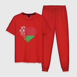 Пижама хлопковая мужская Сердце Беларуси цвета красный — фото 1