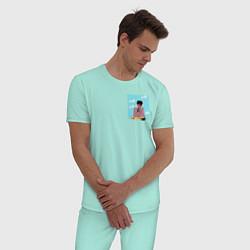 Пижама хлопковая мужская The Weeknd Bored цвета мятный — фото 2