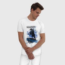 Пижама хлопковая мужская The Bronze Horseman цвета белый — фото 2