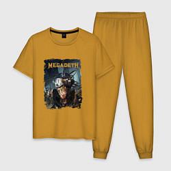 Пижама хлопковая мужская Megadeth Poster Z цвета горчичный — фото 1
