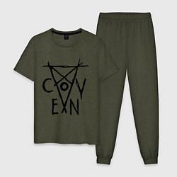 Пижама хлопковая мужская Coven цвета меланж-хаки — фото 1