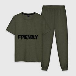 Пижама хлопковая мужская DayZ: Im friendly цвета меланж-хаки — фото 1