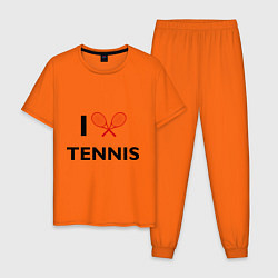 Пижама хлопковая мужская I Love Tennis цвета оранжевый — фото 1
