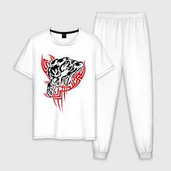 Пижама хлопковая мужская Свирепый оборотень цвета белый — фото 1