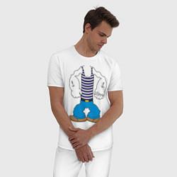 Пижама хлопковая мужская Тело морячка цвета белый — фото 2
