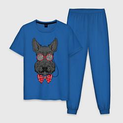 Пижама хлопковая мужская Скотчтерьер в пенсне цвета синий — фото 1