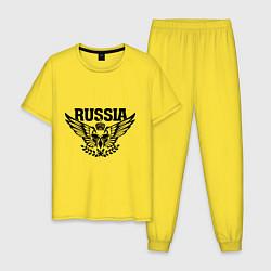 Пижама хлопковая мужская Russia: Empire Eagle цвета желтый — фото 1