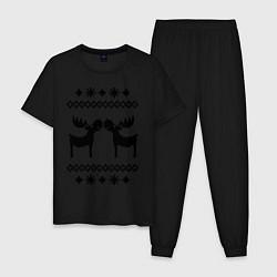 Пижама хлопковая мужская Узор с оленями цвета черный — фото 1