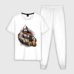 Пижама хлопковая мужская Путин богатырь цвета белый — фото 1