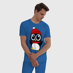 Пижама хлопковая мужская Удивленный пингвинчик цвета синий — фото 2