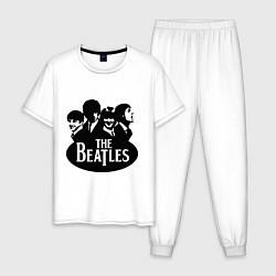 Пижама хлопковая мужская The Beatles Band цвета белый — фото 1