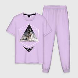Пижама хлопковая мужская Геометрический астронавт цвета лаванда — фото 1