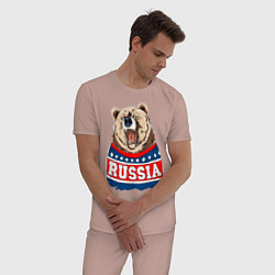 Пижама хлопковая мужская Made in Russia: медведь цвета пыльно-розовый — фото 2