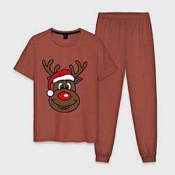 Пижама хлопковая мужская Рождественский олень цвета кирпичный — фото 1