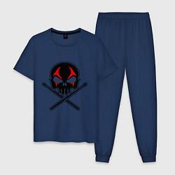 Пижама хлопковая мужская Череп ударник цвета тёмно-синий — фото 1