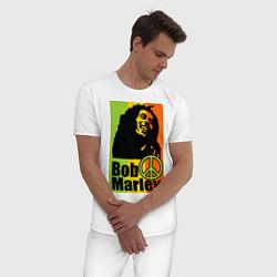 Пижама хлопковая мужская Bob Marley: Jamaica цвета белый — фото 2