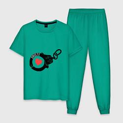 Пижама хлопковая мужская Наручники любви: вместе цвета зеленый — фото 1