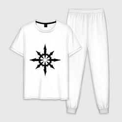 Пижама хлопковая мужская Герб Демонов цвета белый — фото 1