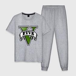 Пижама хлопковая мужская GTA V цвета меланж — фото 1