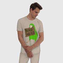 Пижама хлопковая мужская Bird Nerd цвета миндальный — фото 2