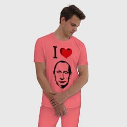 Пижама хлопковая мужская I love Putin цвета коралловый — фото 2