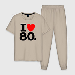 Пижама хлопковая мужская I Love 80s цвета миндальный — фото 1