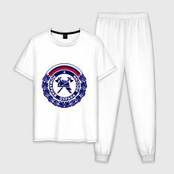 Пижама хлопковая мужская Пожарная охрана России цвета белый — фото 1