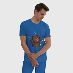 Пижама хлопковая мужская Мишка в серпантине цвета синий — фото 2