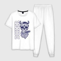 Пижама хлопковая мужская Biker цвета белый — фото 1