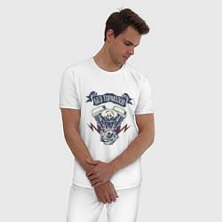 Пижама хлопковая мужская Без тормозов цвета белый — фото 2