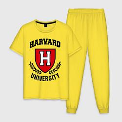 Пижама хлопковая мужская Harvard University цвета желтый — фото 1