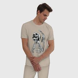 Пижама хлопковая мужская Скелет с бритвой цвета миндальный — фото 2