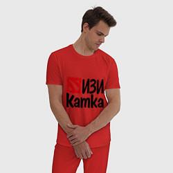 Пижама хлопковая мужская Изи катка цвета красный — фото 2