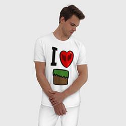Пижама хлопковая мужская I love Dilleron цвета белый — фото 2