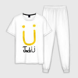 Пижама хлопковая мужская Jack U цвета белый — фото 1