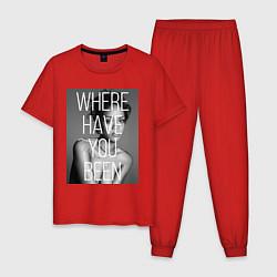 Пижама хлопковая мужская Rihanna: Where have you been цвета красный — фото 1