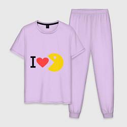 Пижама хлопковая мужская I love Packman цвета лаванда — фото 1