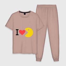 Пижама хлопковая мужская I love Packman цвета пыльно-розовый — фото 1