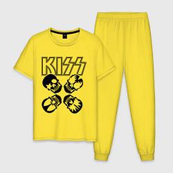 Пижама хлопковая мужская Kiss Skulls цвета желтый — фото 1