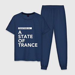 Пижама хлопковая мужская Together in A State of Trance цвета тёмно-синий — фото 1