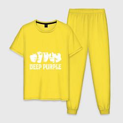 Пижама хлопковая мужская Deep Purple цвета желтый — фото 1