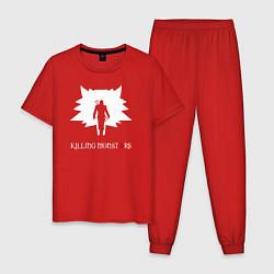 Пижама хлопковая мужская Killing monsters цвета красный — фото 1
