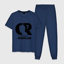 Пижама хлопковая мужская CR Ronaldo 07 цвета тёмно-синий — фото 1