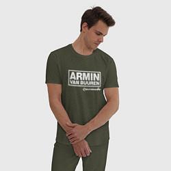 Пижама хлопковая мужская Armin van Buuren цвета меланж-хаки — фото 2