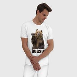 Пижама хлопковая мужская Russia: Poly Bear цвета белый — фото 2