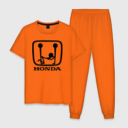 Пижама хлопковая мужская Honda Logo Sexy цвета оранжевый — фото 1