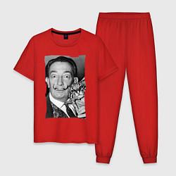 Пижама хлопковая мужская Дали с кошкой цвета красный — фото 1