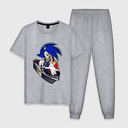 Пижама хлопковая мужская Sonic цвета меланж — фото 1