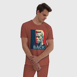 Пижама хлопковая мужская I'll be back цвета кирпичный — фото 2