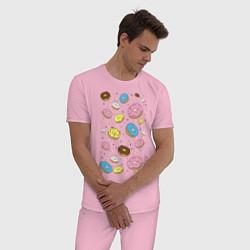 Пижама хлопковая мужская Пончики цвета светло-розовый — фото 2